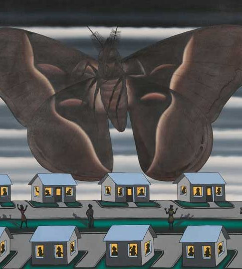 oil painting of a large moth over houses