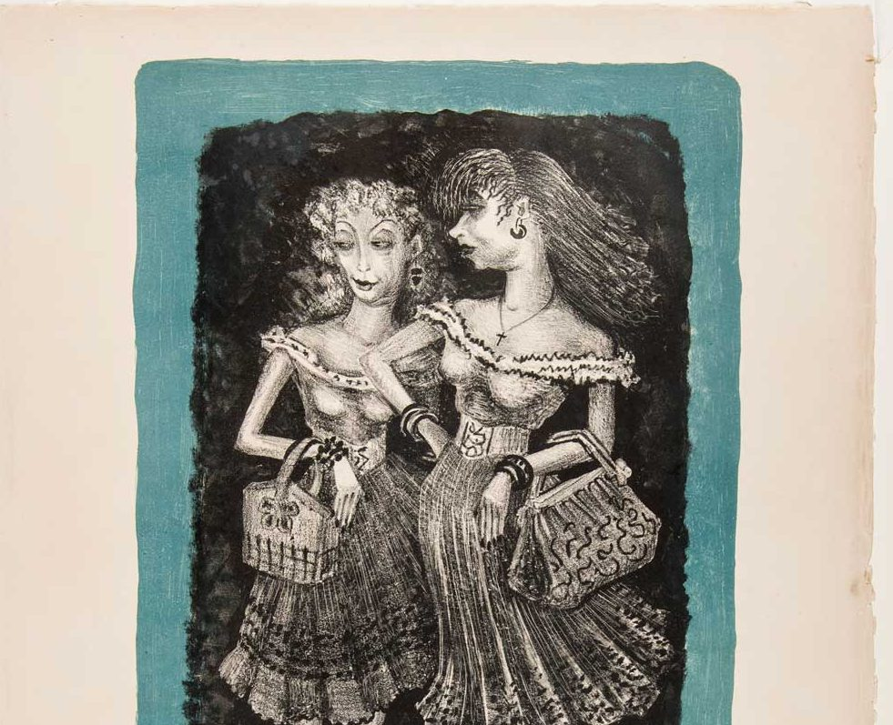 Lithograph of two women holding handbags, looking to their right, and wearing heels and ruffled skirts with matching tops and belts.