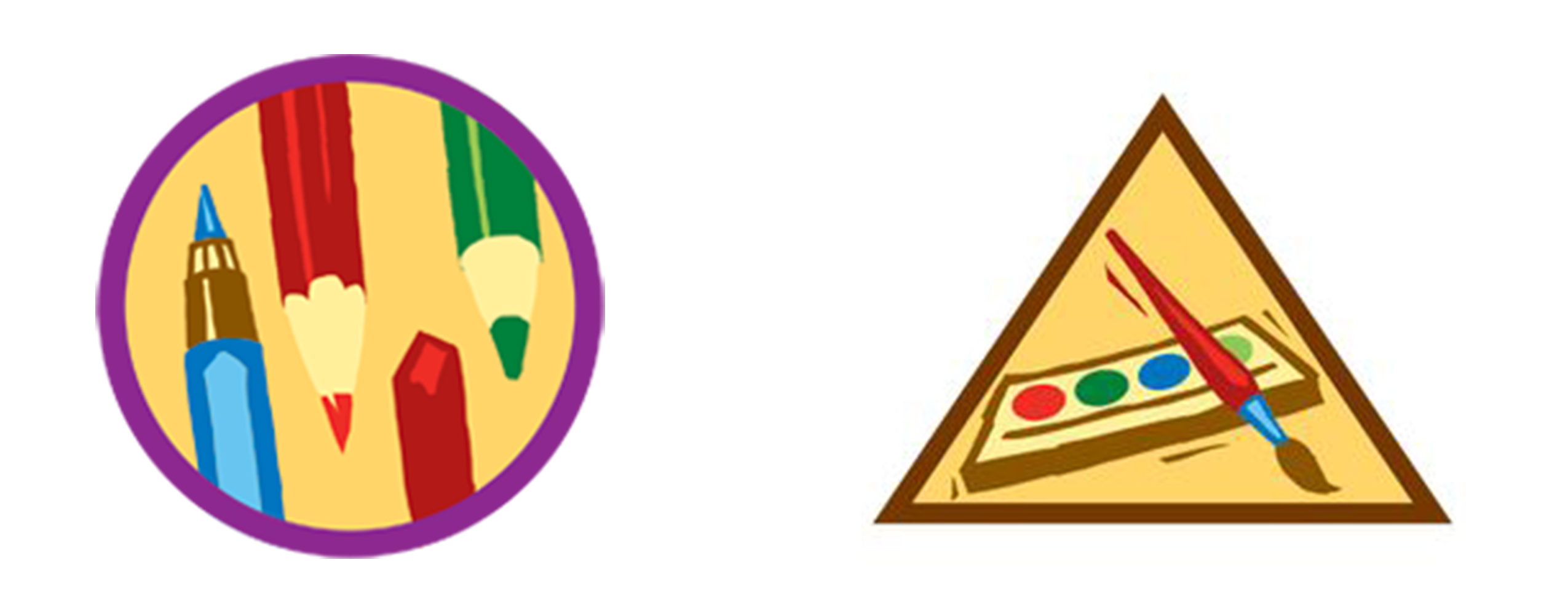 The painting and drawing graphics for Girl Scout badges