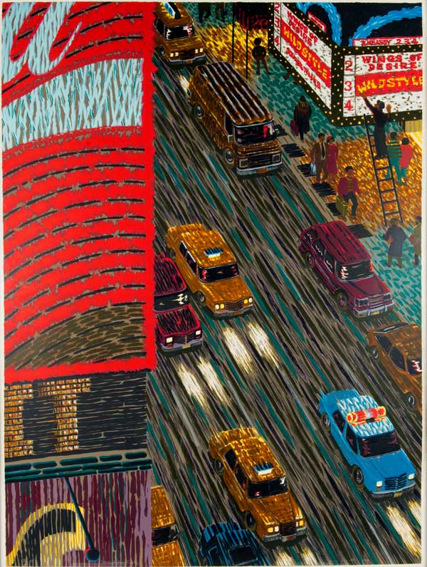 Yvonne Jacquette (American, b. 1934) Motion Picture (Times Square), 1989-90 Lithograph and screenprint Jule Collins Smith Museum of Fine Art, Auburn University; museum purchase with funds provided by the 1072 Society, 2011 2011.01.4