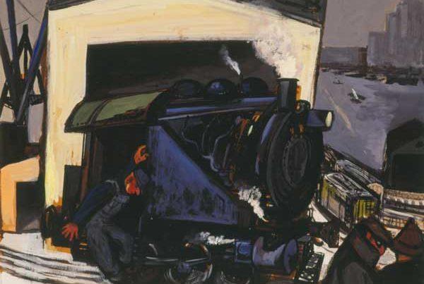 Gregorio Prestopino (American, 1907–1984) Donkey Engine, 1948 Gouache on paper Jule Collins Smith Museum of Fine Art, Auburn University; Advancing American Art Collection 1948.1.29
