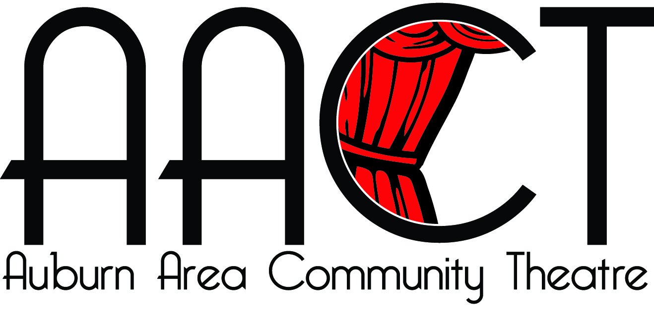 Logo of the Auburn Area Community Theatre, with curtain drawn in the letter C.