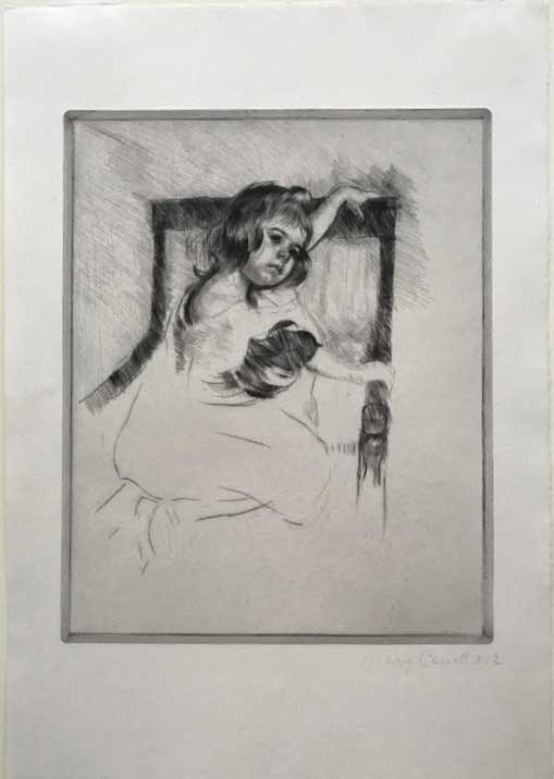 Mary Cassatt (American, 1844–1926) Kneeling in an Arm Chair, 1903 Edition: ca. 50, numbered 2 in pencil Drypoint engraving 11 7/8 x 9 9/16 inches Courtesy Pia Gallo