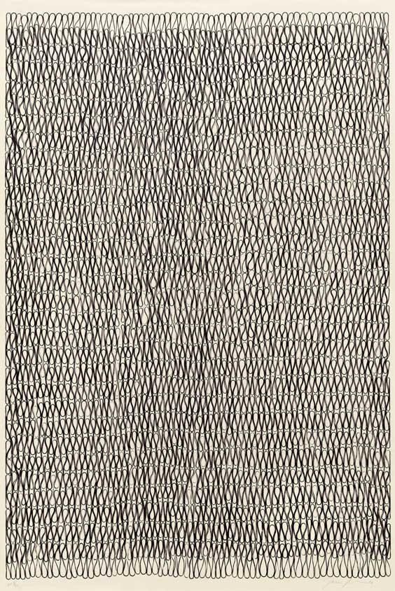 Tara Donovan (American, b. 1970) Untitled, 2006 Edition: 27/35 Relief print from rubber band matrix Sheet: 38 1/2 x 26 inches Image: 36 1/2 x 24 3/4 inches Courtesy of Pace Prints