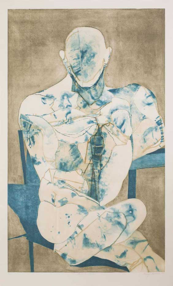 Nancy Grossman (American, b. 1940) Apollo the Healer, 1995 Edition: 20 Spit-bite color etching Sheet: 65 x 39 1/2 inches Image: 59 1/2 x 35 1/2 inches Courtesy of Michael Rosenfeld Gallery