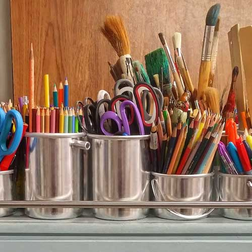 Scissors, pencils and other art supplies.