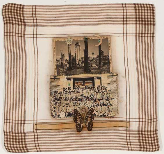Betye Saar (American, b. 1926) Pompeii Band, 1977 Mixed media collage on handkerchief 15 1/4 x 15 7/8 inches Courtesy of Michael Rosenfeld Gallery
