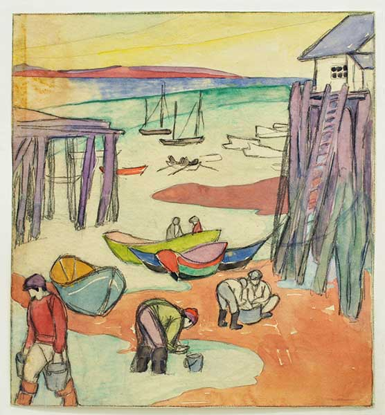 Maud Hunt Squire (American, 1873–1954) Untitled (Clam diggers with purple piers, Provincetown), ca. 1915 Watercolor and graphite 10 1/2 x 9 1/2 inches Courtesy of Ryan/Lee Gallery