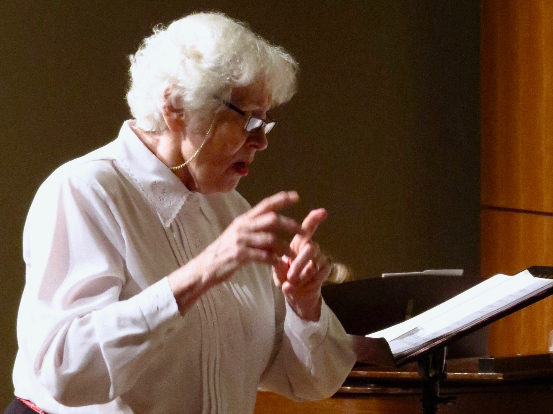 Phyllis Gauker, director of the Auburn Music Club Singers. Photo credit Patrick McCurry.