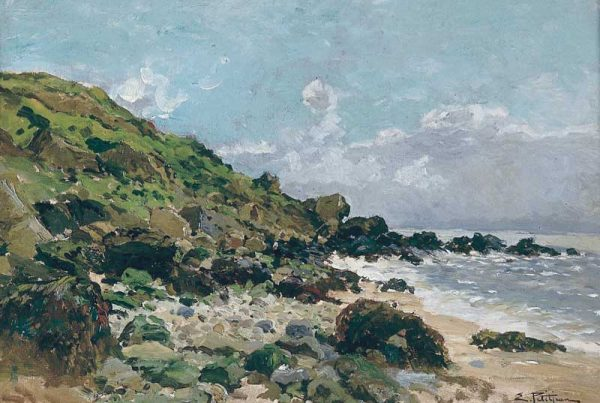 Edmund Petitjean (French 1844-1925) Les Côte du Nords, Bretagne (The Shell Gatherers), n.d. Oil on Canvas Jule Collins Smith Museum of Fine Art, Auburn University; Gift of Noel and Katheryn Dickinson Wadsworth