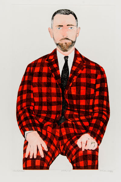 Beth Van Hoesen (American, 1926–2010) Checked Suit, 1968–70 Etching, drypoint, roulette, and aquatint with watercolor and gouache Second state Edition: artist's proof 21 x 13 5/16 inches