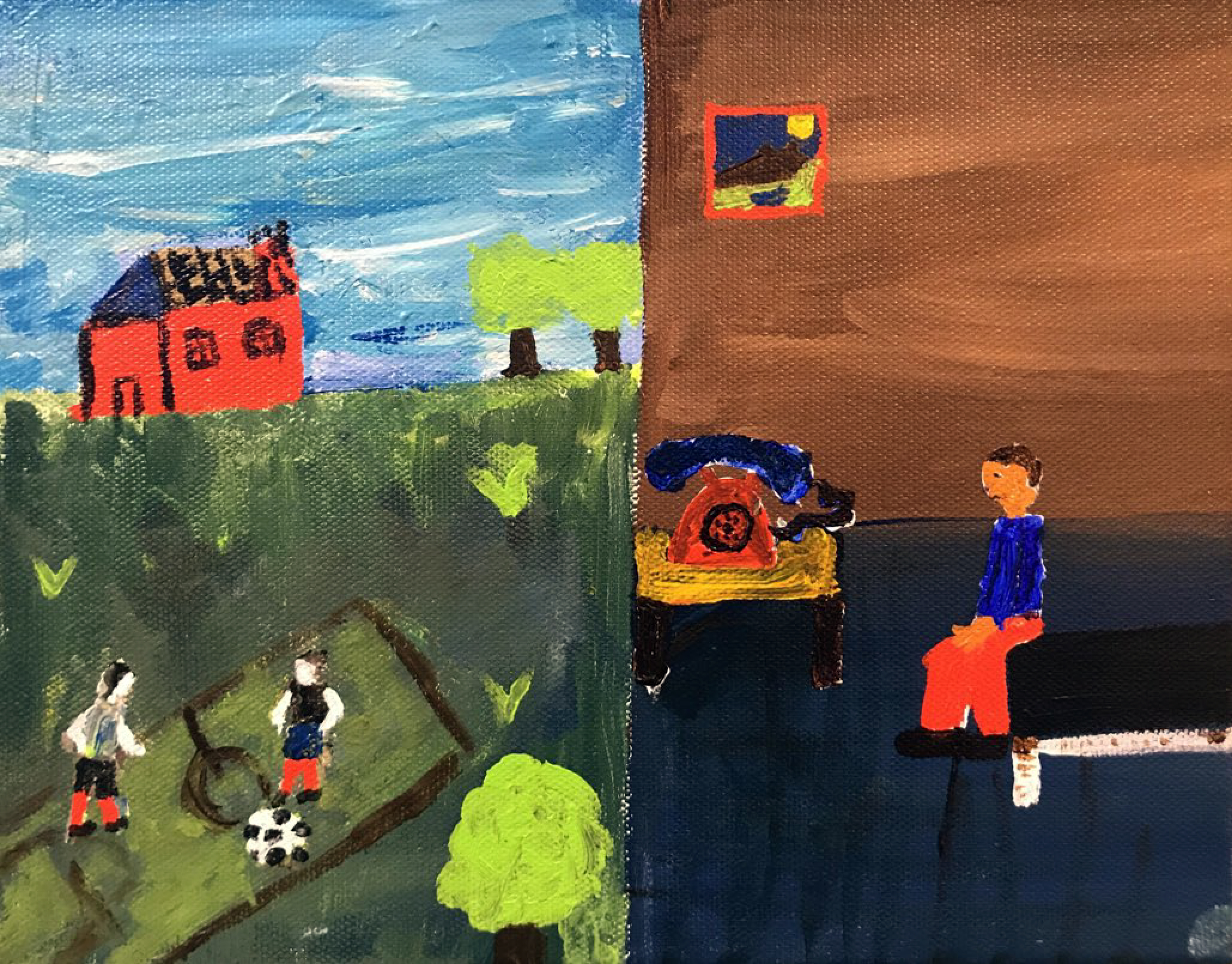 A painting with two sides. On the left, two figures play soccer in front of a red house. On the right, a figure sits on a bed staring at a phone.