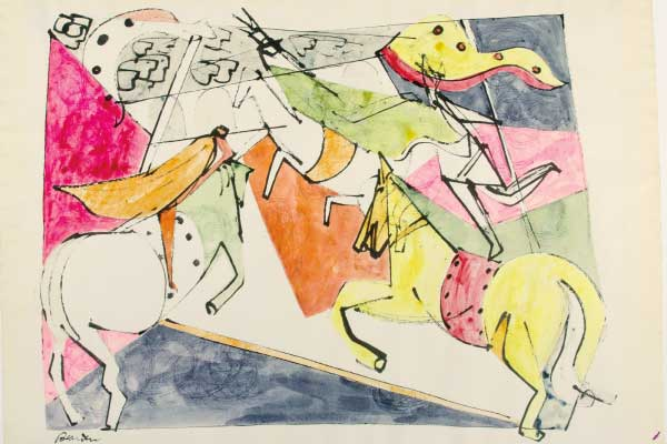 Romare Bearden (American, 1914–1988) Mad Carousel, n.d Watercolor on paper Jule Collins Smith Museum of Fine Art, Auburn University; Advancing American Art Collection 1948.1.01