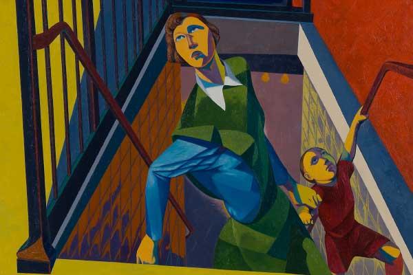 O. Louis Guglielmi (American, b. Egypt, 1906–1956) Subway Exit, 1946 Oil on canvas Jule Collins Smith Museum of Fine Art, Auburn University; Advancing American Art Collection 1948.1.17