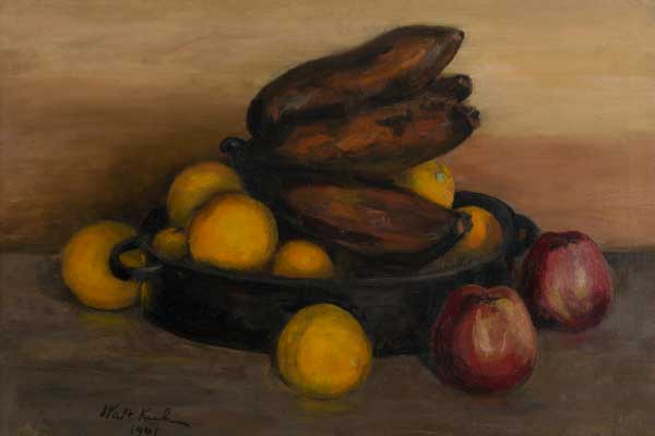 Walt Kuhn (American, 1877–1949) Still Life with Red Bananas (also known as Red Bananas in an Iron Dish), 1941 Oil on canvas Jule Collins Smith Museum of Fine Art, Auburn University; gift of Dr. Robert B. Ekelund Jr. and Dr. Mark Thornton to the Advancing American Art Collection, dedicated to Dennis Harper for his wonderful friendship 2016.09.01