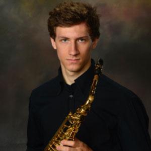Saxophonist Nikolai Klotchkov poses with his instrument.