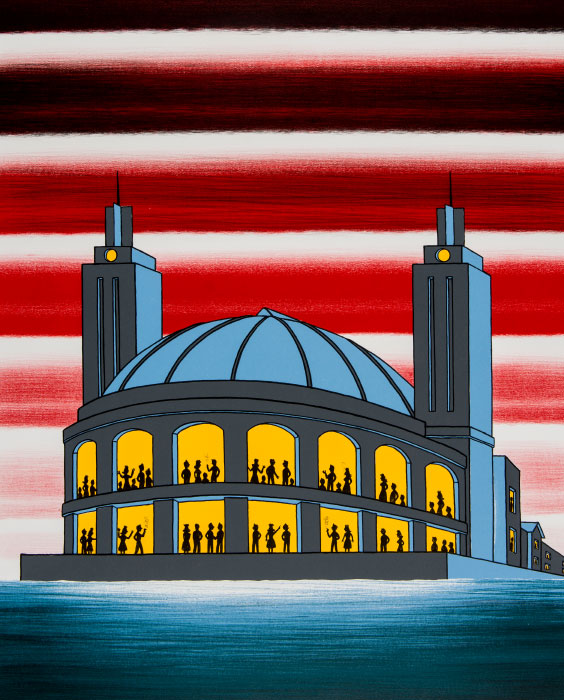 Roger Brown, Navy Pier (detail), 1986, color lithograph and silkscreen, 12/50, Museum purchase and partial gift of the Brown family.