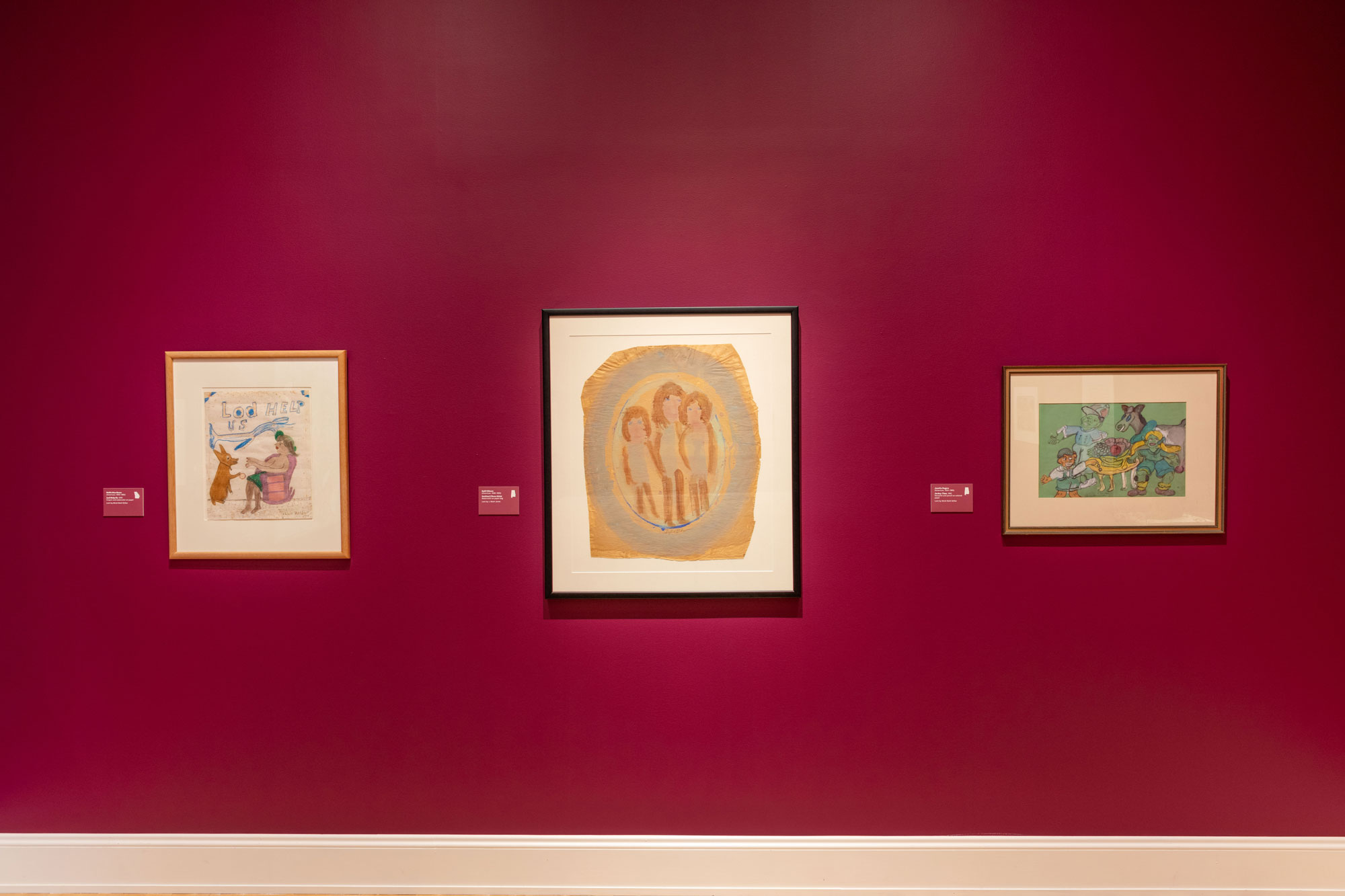 Gallery installation of folk art