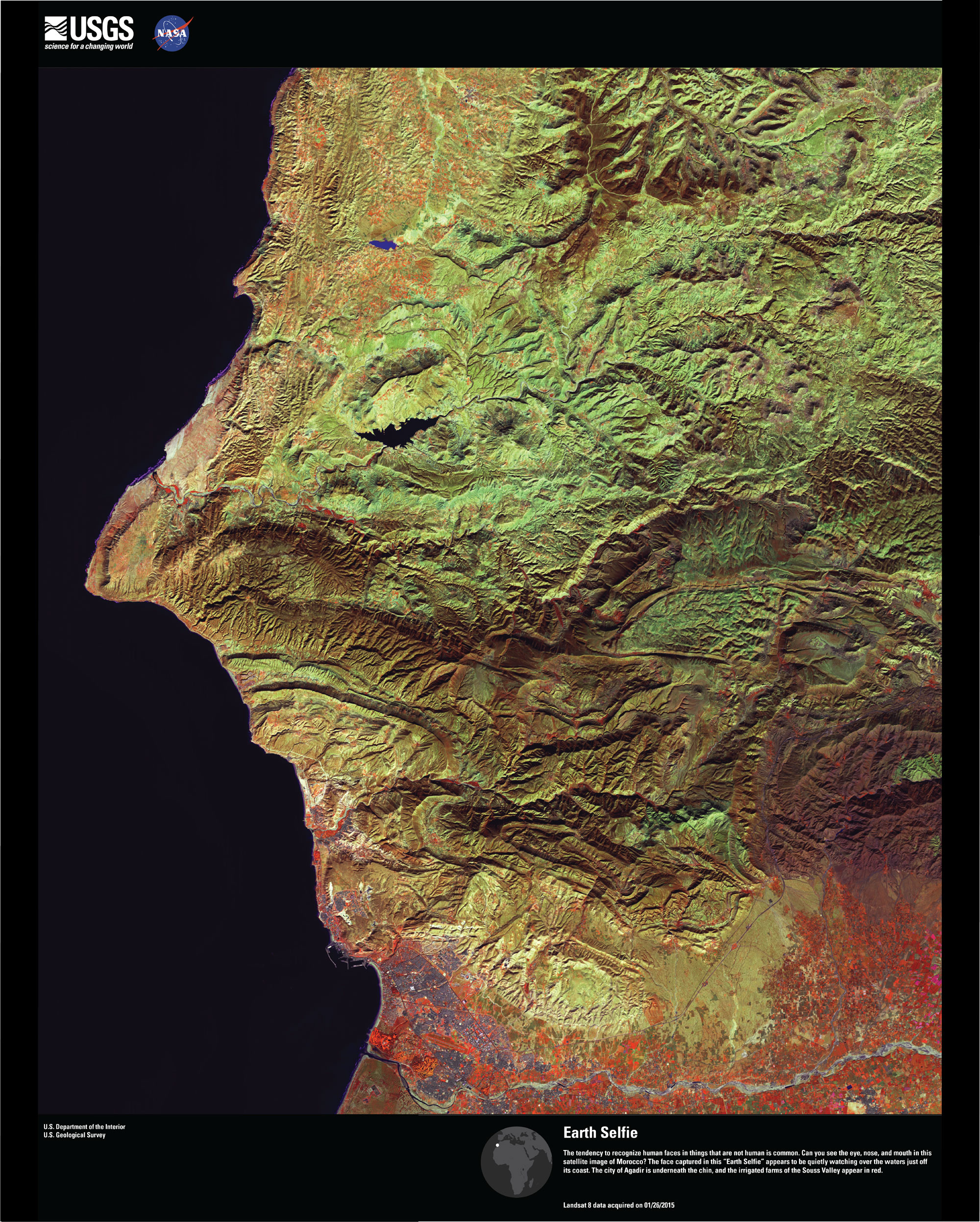 Satellite image of Earth that looks like a face