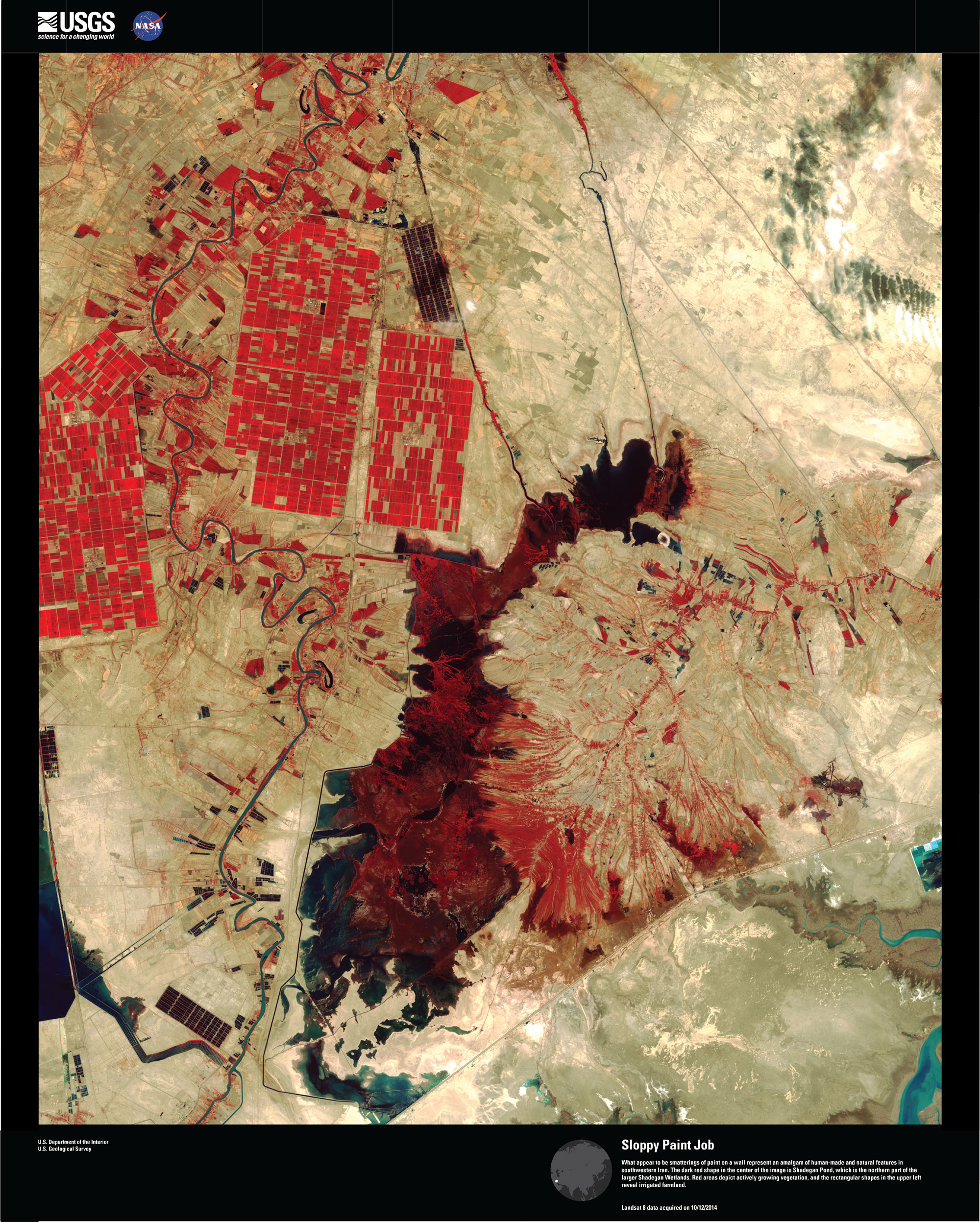 Satellite image of human-made and natural features in southwestern Iran.