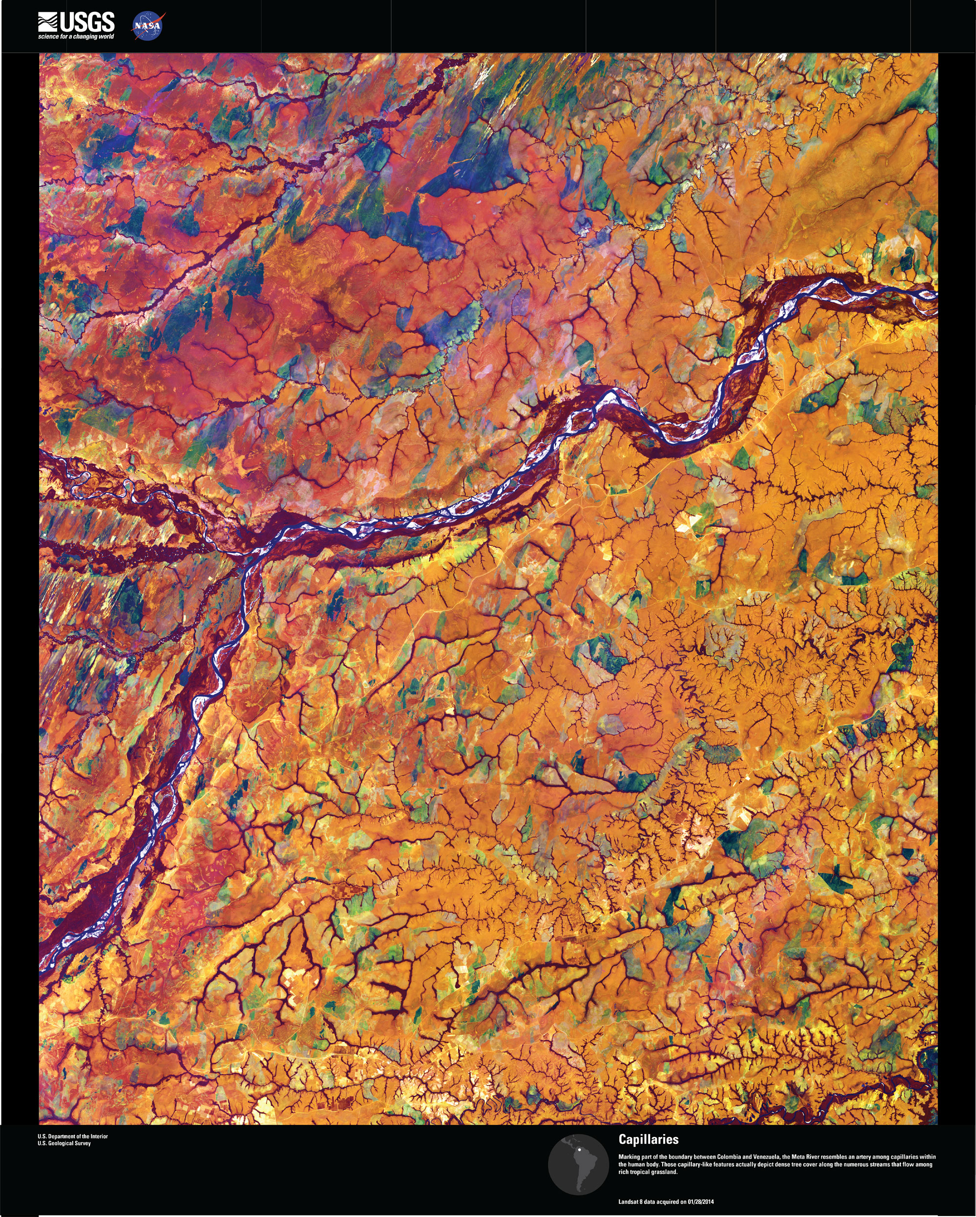 Satellite imagery of the Meta River at the Colombia and Venezuela border.