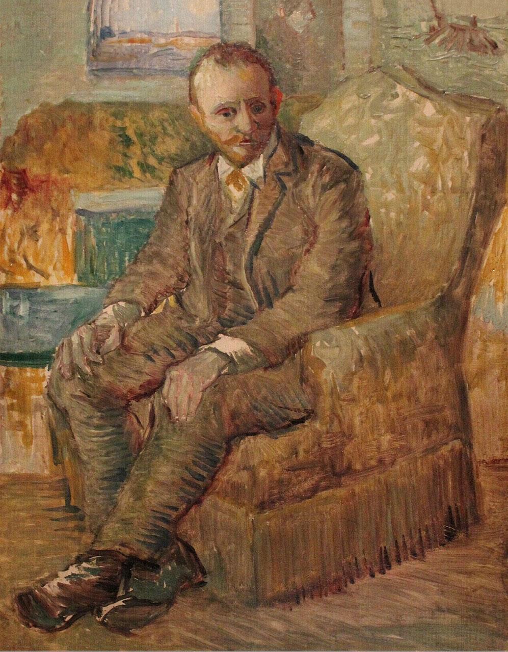 Portrait of art dealer Alexander-Reid sitting in an easy chair