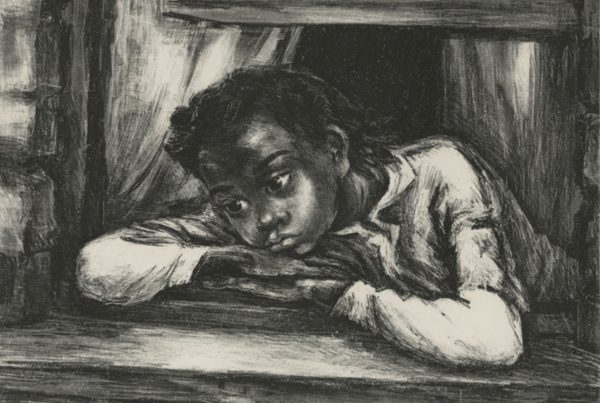 A young girl leans out of a window, looking sad.