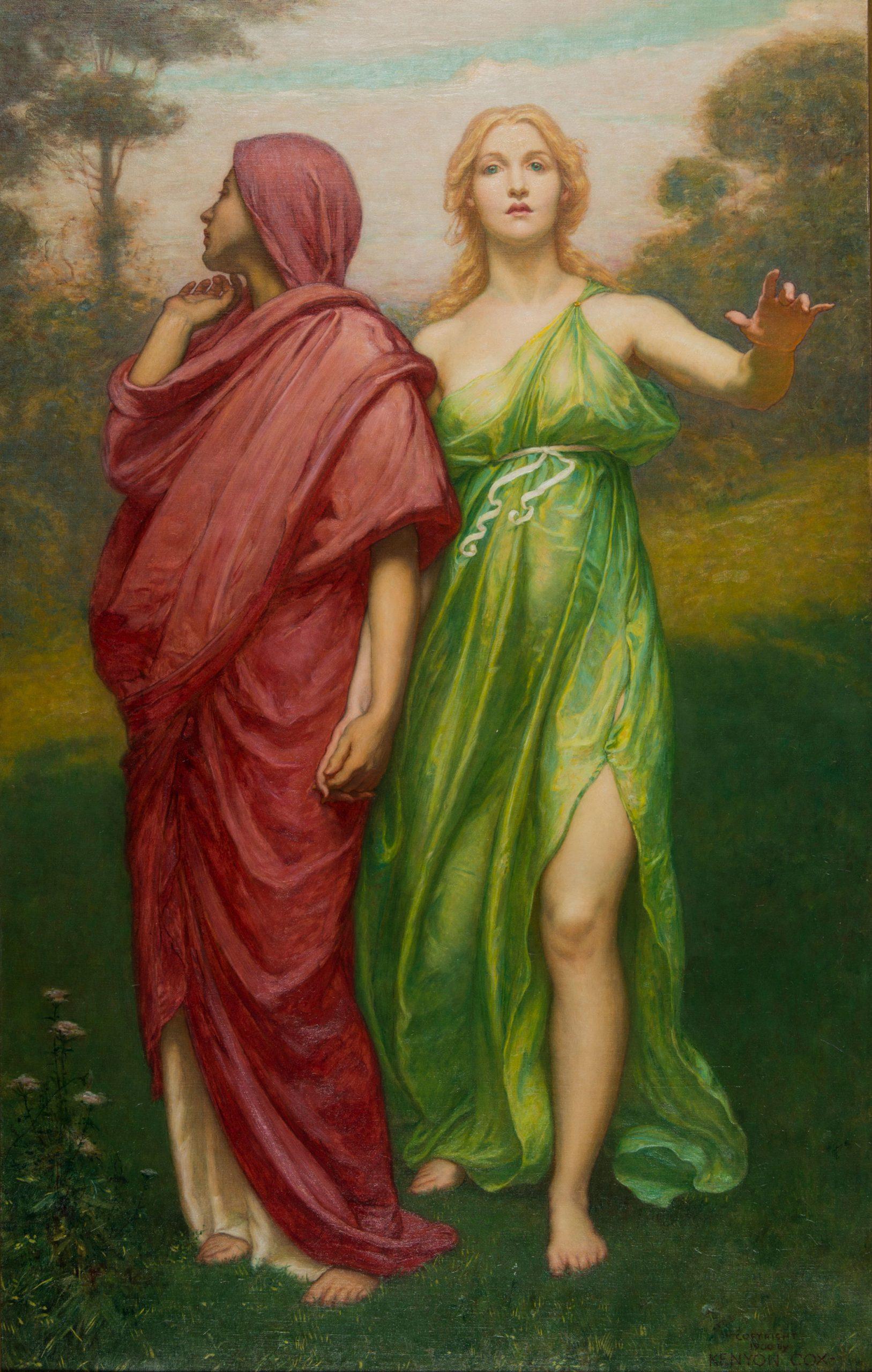 Two women walking forward, one looks behind her.