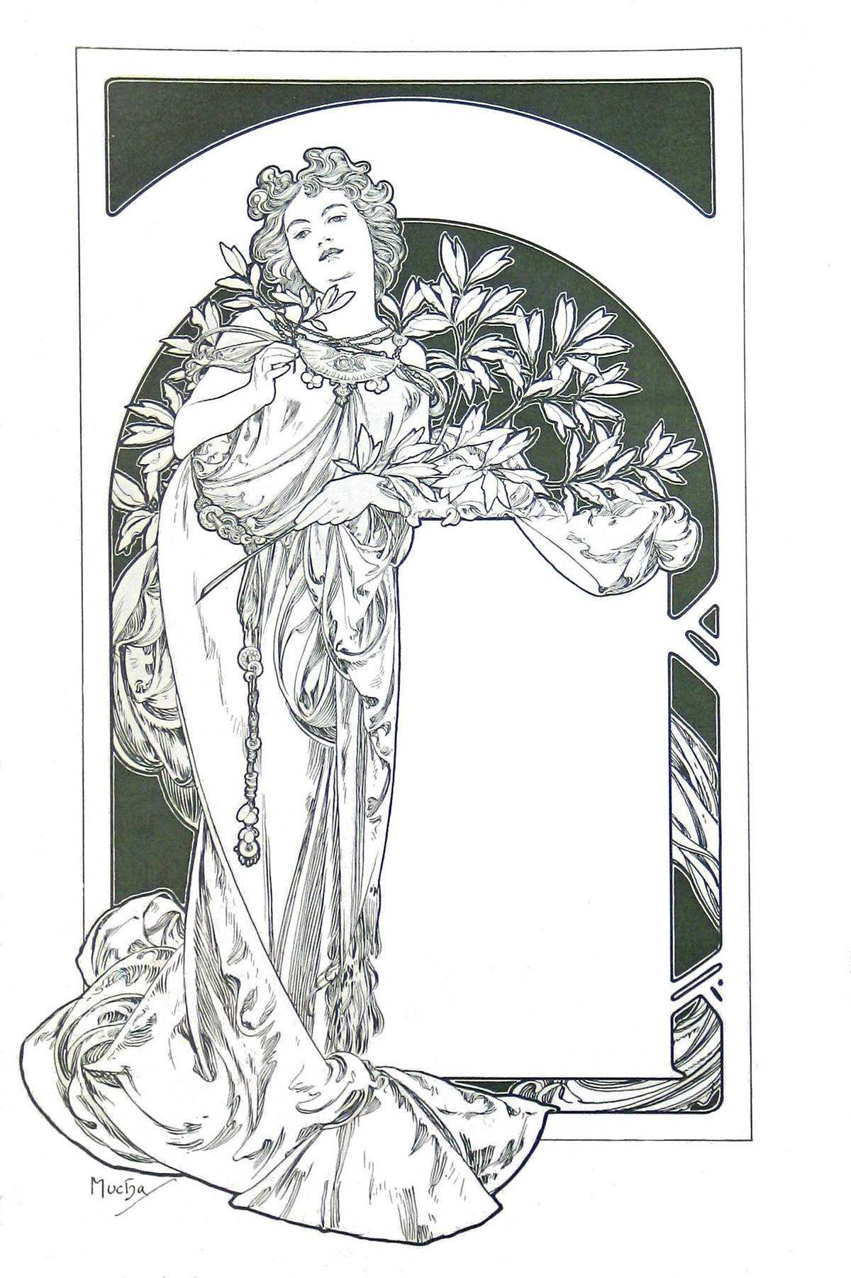 A coloring page of a woman.