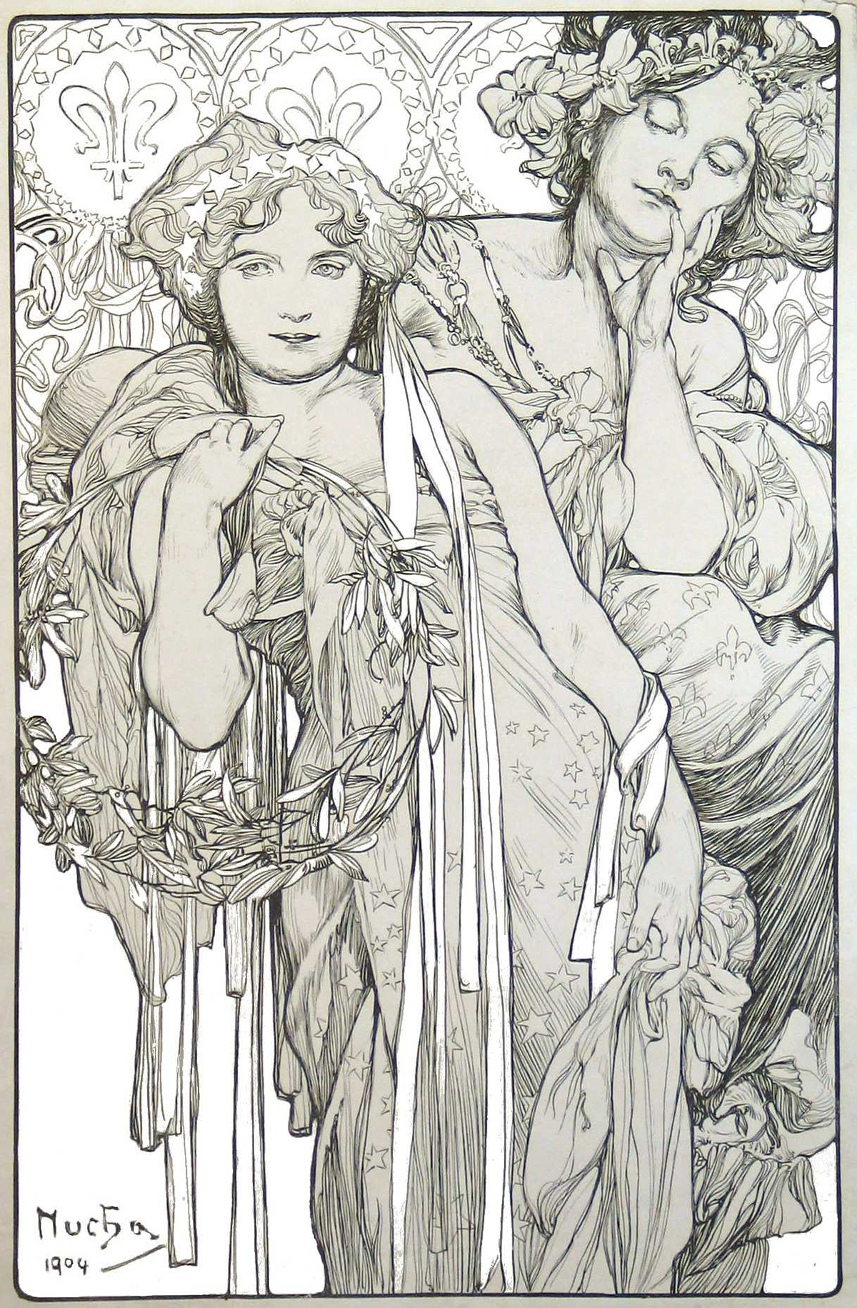 A coloring page of two women