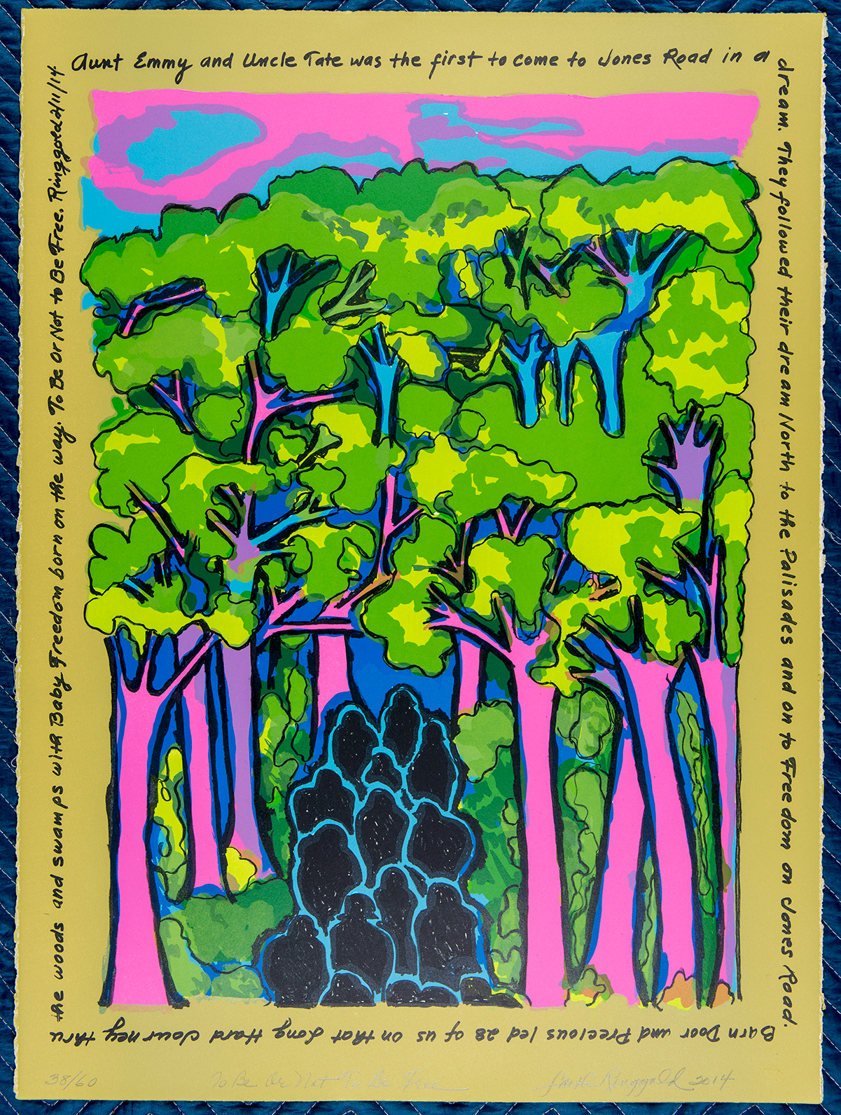 A color lithograph of people walking in the woods.