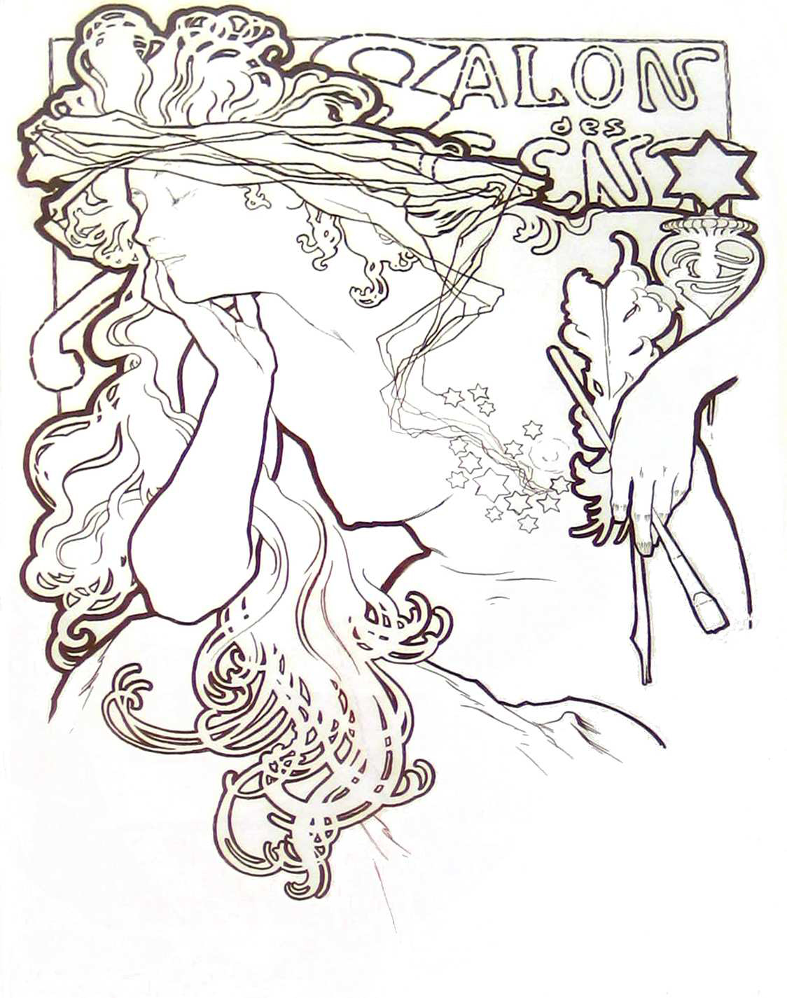 A coloring page of a woman