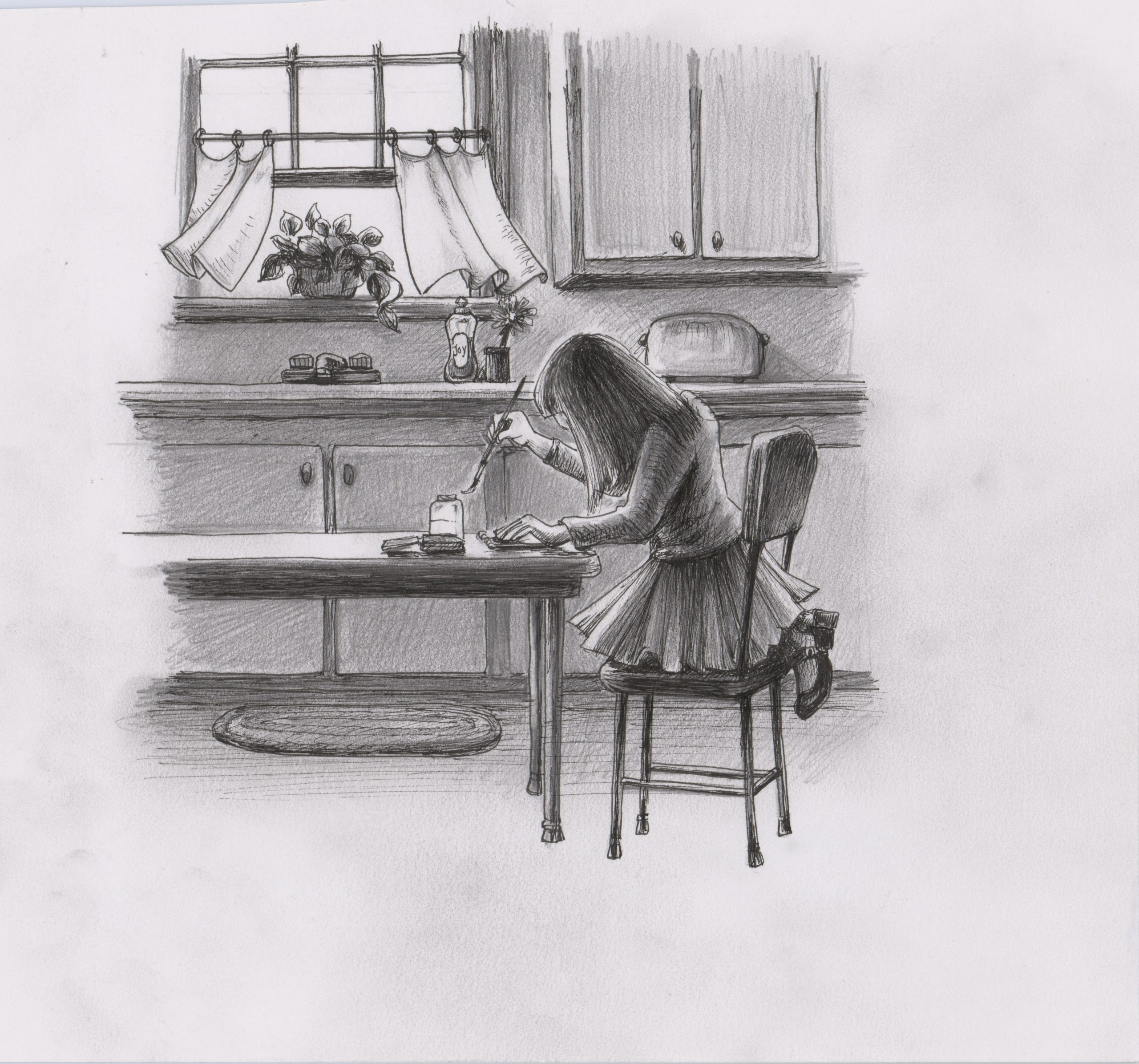 A young girl makes art at the kitchen table.