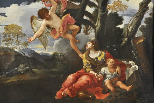 A woman with a child looks up at an angel.