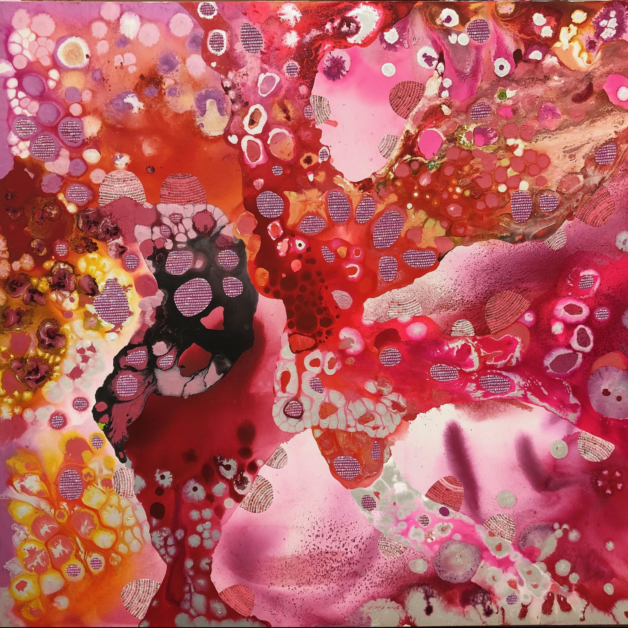 An abstract oil painting with bubbles and drips